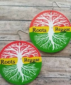 Rasta Circle Reggae Roots Urban Wood Earrings